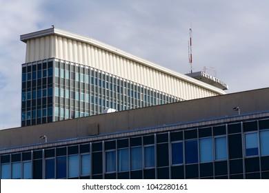 PRAGUE, CZECH REPUBLIC - MARCH 9 2018: Ceska televize public television broadcaster company logo on the headquarters building on March 9, 2018 in Prague, Czech Republic.