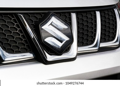 PRAGUE, CZECH REPUBLIC - MARCH 9 2018: Suzuki Motor corporation logo on Suzuki Vitara car on March 9, 2018 in Prague, Czech Republic.