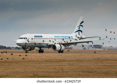 PRAGUE, CZECH REPUBLIC - MARCH10: Airbus A320 after landing at PRG Airport in dangerous situation can caused bird strike in Prague on March 10, 2017. Aegean Airlines is the largest Greek airline.
