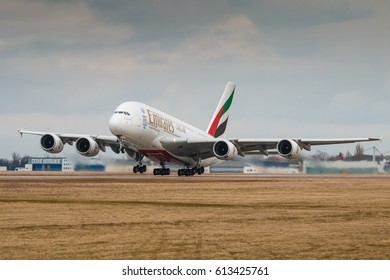 PRAGUE, CZECH REPUBLIC - MARCH10: Airbus A380-800 Emirates take off from PRG Airport in Prague on March 10, 2017. Emirates is an airline based in Dubai.