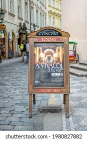 Prague, Czech Republic - May 03 2020: Street poster of Antonio Vivaldi's classical music concerts at the old Klementinum library in Prague, Czech Republic. Popular tourist attraction