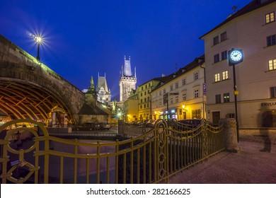 Prague, Czech Republic - May 03, 2015: Prague old town street view at evening light