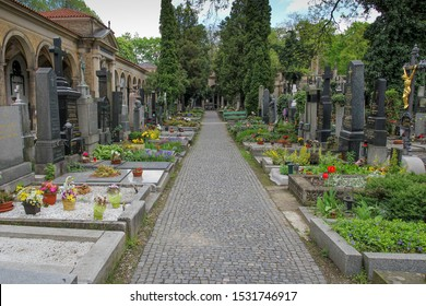 PRAGUE, CZECH REPUBLIC - May 05, 2013: Vysehrad cemetery near the Basilica of St. Peter and St. Paul XI-XIX century. Vysehrad cemetery is the final resting place of many famous composers and artists.