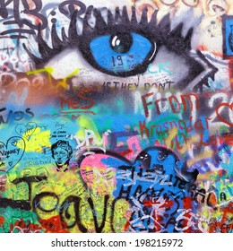 PRAGUE, CZECH REPUBLIC - MAY 06:The Lennon Wall since the 1980s filled with John Lennon-inspired graffiti and pieces of lyrics from Beatles songs on May 06, 2014 in Prague, Czech Republic