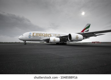 PRAGUE, CZECH REPUBLIC - MAY 1, Emirates Airbus A380 taxis to take off from PRG Airport on May 1, 2016