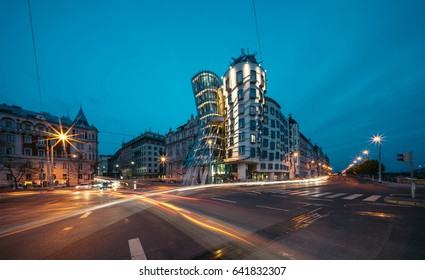 PRAGUE, CZECH REPUBLIC - MAY 1, 2017: Dancing House (called Ginger nad Fred) . Built by Vlado Milunic and Frank Gehry in 1992-1996.