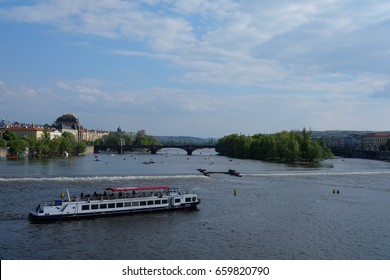 PRAGUE, CZECH REPUBLIC. MAY 1: Scenery along the banks of the Valtava River. On MAY 1, 2017 In PRAGUE, CZECH REPUBLIC.