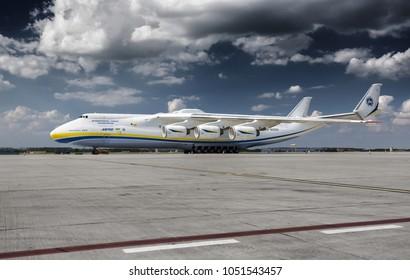 PRAGUE, Czech republic - May 10, 2016. Antonov-225 Mriya - the largest cargo plane in the world at Vaclav Havel Airport Prague on May 10, 2016