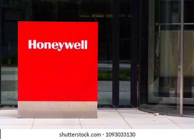 PRAGUE, CZECH REPUBLIC - MAY 10 2018: Honeywell company logo on headquarters building on May 10, 2018 in Prague, Czech Republic.