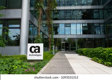 PRAGUE, CZECH REPUBLIC - MAY 10 2018: CA Technologies company logo on headquarters building on May 10, 2018 in Prague, Czech Republic.