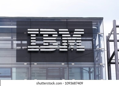 PRAGUE, CZECH REPUBLIC - MAY 10 2018: IBM company logo on headquarters building on May 10, 2018 in Prague, Czech Republic.