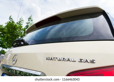 PRAGUE, CZECH REPUBLIC - MAY 10 2018: Mercedes-Benz B200 Natural Gas Drive NGD car on May 10, 2018 in Prague, Czech Republic.