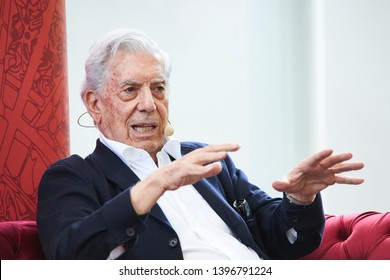 PRAGUE/ CZECH REPUBLIC - MAY 10, 2019: Book World Prague 2019 - 25rd International Book Fair and Literary Festival. Nobel prize laureat, Peruvian-Spanish writer Mario Vargas Llosa speaking on stage