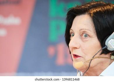 PRAGUE/ CZECH REPUBLIC - MAY 10, 2019: Book World Prague 2019 - 25rd International Book Fair. Herta Muller Romanian-born German novelist, poet, Nobel Prize in Literature, essayis speaking on stage