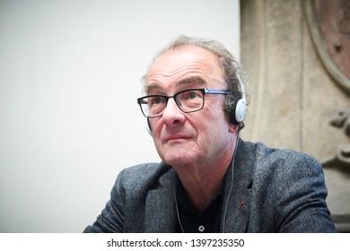 PRAGUE/ CZECH REPUBLIC - MAY 10, 2019: Book World Prague 2019 - 25rd International Book Fair. Portrait of Robert Menasse, Austrian writer,  freelance publicist, columnist and translator
