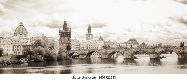 Prague, Czech Republic - May 10 2019: Inner City outdoor afternoon travel picture from the picturesque historic city center and old town of Prague