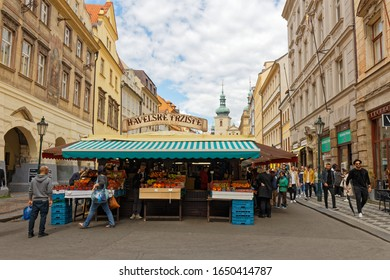 PRAGUE, CZECH REPUBLIC - MAY 10, 2019: Havel's Market. Permanent marked in the center of Prague. Market has been continuously open since 1232. Prague, Czech Republic.