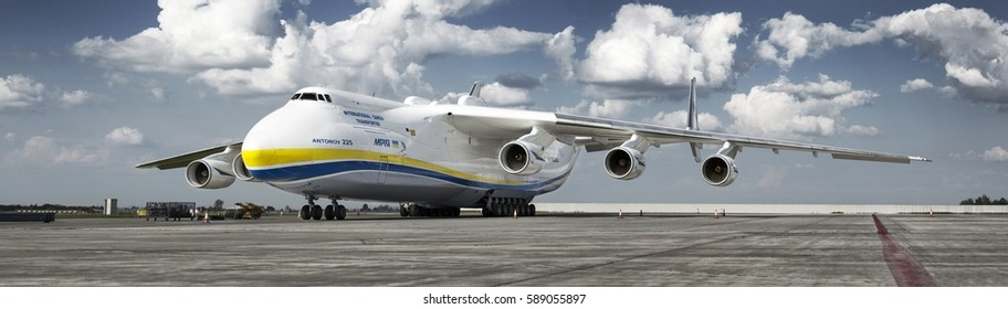 PRAGUE, Czech republic - May 10, 2016. Antonov-225 Mriya - the largest cargo plane in the world at Vaclav Havel Airport Prague on May 10, 2016