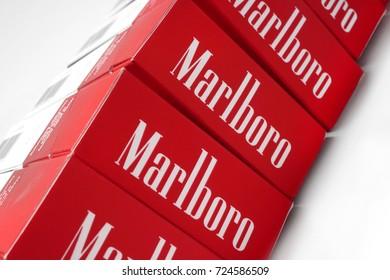 Prague, Czech Republic- May 10, 2017. Cigarette Marlboro