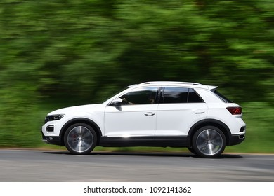 PRAGUE, CZECH REPUBLIC - MAY 11, 2018: Volkswagen T-Roc riding near Prague, Czech republic, May 11, 2018.