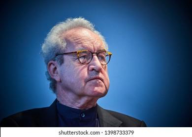 PRAGUE/ CZECH REPUBLIC - MAY 11, 2019: Book World Prague 2019- 25rd International Book Fair. Portrait of William John Banville. Irish novelist, short story writer, adapter of dramas during interview