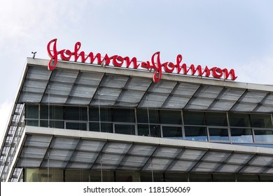 PRAGUE, CZECH REPUBLIC - MAY 12 2018: Johnson & Johnson company logo on headquarters building on May 12, 2018 in Prague, Czech Republic.