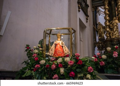 PRAGUE, CZECH REPUBLIC, MAY 13, 2017: The main altar of Carmelite Church of Our Lady Victorious in Prague.