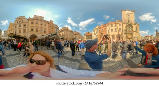 Prague, Czech Republic - May 14, 2019 :  360VR of tourists at Astronomical Clock Tower  in Old Town Square of Prague, Czech Republic.