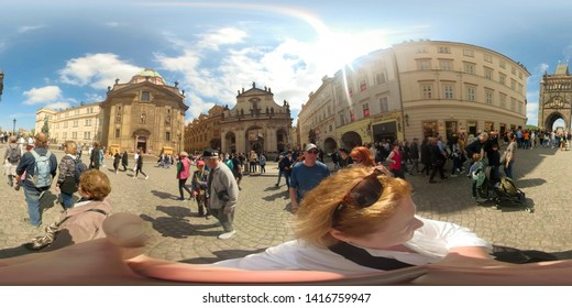 Prague, Czech Republic - May 14, 2019 :  360VR of tourists at Charles Bridge of Prague, Czech Republic.