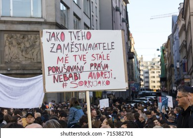 PRAGUE, CZECH REPUBLIC - MAY 15, 2017: Demonstration on Prague Wenceslas square against the current government and Babis finance minister.
