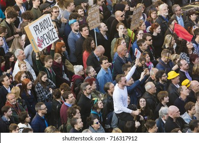 PRAGUE, CZECH REPUBLIC - MAY 15, 2017: Demonstration on Prague Wenceslas square against the current government and Babis, the finance minister.