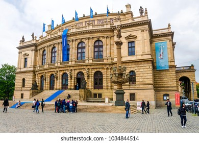 PRAGUE, CZECH REPUBLIC - MAY 16, 2016: Rudolfinum in Prague, a concert and exhibition hall in the center of Prague, on the square now bearing the name of Jan Palach