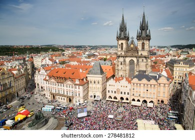 PRAGUE, CZECH REPUBLIC - MAY 16: Czech fans cheering at the World Ice Hockey Championship 2015 in Prague's Old Town Square on May 16,2015.