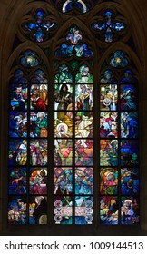 PRAGUE, CZECH REPUBLIC - MAY 17, 2017: Stained glass window at St Vitus Cathedral in the old town of Prague.