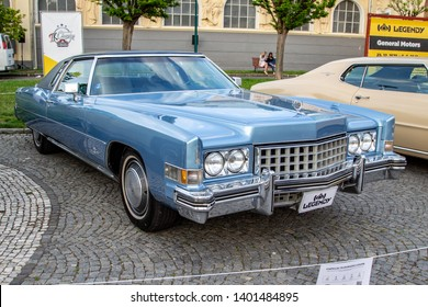 Prague / Czech Republic - May 18th 2019: Front view of a blue Cadillac Eldorado Coupe (1973) at car show Legendy 2019.