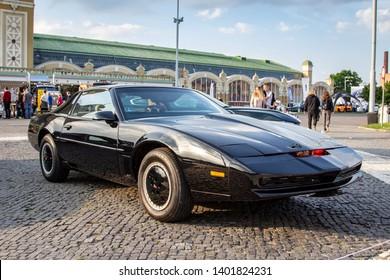 """Prague / Czech Republic - May 18th 2019: Black Pontiac Firebird Trans Am """"KITT"""" at car show Legendy 2019."""