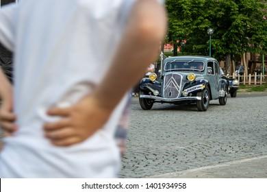 Prague / Czech Republic - May 18th 2019: Citroen Traction Avant (1937) coming through crowd at car show Legendy 2019.