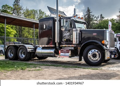 Prague / Czech Republic - May 18th 2019: Black american Peterbilt truck at car show Legendy 2019.