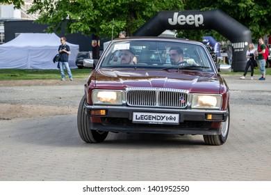 Prague / Czech Republic - May 18th 2019: Wine red Jaguar Daimler Six (1980s) at car show Legendy 2019.