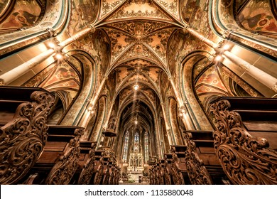 PRAGUE, CZECH REPUBLIC - MAY 19, 2017: Interior of Basilica of St. Peter and Paul. Vysehrad castle complex