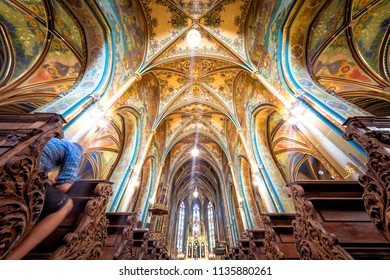 PRAGUE, CZECH REPUBLIC - MAY 19, 2017: Church of St. Peter and Paul at Vysehrad. Pictured interior of the church