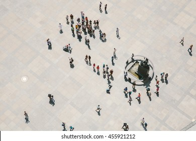 Prague, Czech Republic - May 19, 2016: Crowd seen from above from the tower of the St. Vitus Cathedral's tower.