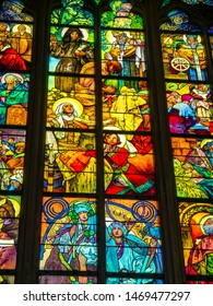 Prague Czech Republic may 1st 2019 The Metropolitan Cathedral of Saints Vitus, Wenceslaus and Adalbert is a Roman Catholic cathedral with spectacular medieval stained glass windows