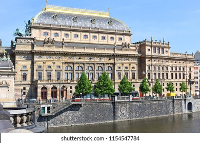 PRAGUE, CZECH REPUBLIC - May 2, 2018: The National Theatre is known as the alma mater of Czech opera, and as the national monument of Czech history and art.