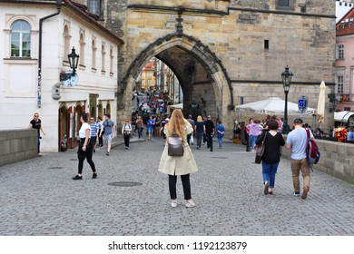 PRAGUE, CZECH REPUBLIC - May 2, 2018: The world through the eyes of the photographer. The Charles Bridge.