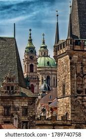 PRAGUE, CZECH REPUBLIC - May 2, 2020: The Church of Saint Nicholas, Baroque church in the Lesser Town of Prague.