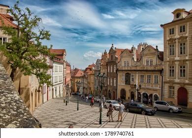 PRAGUE, CZECH REPUBLIC - May 2, 2020:  Nerudova street in Hradcany, Prague, Czech Republic