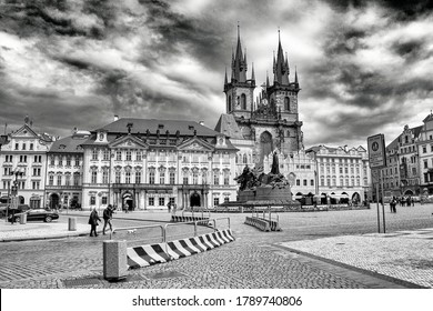 PRAGUE, CZECH REPUBLIC - May 2, 2020:  Church of our Lady in front of Tyn, Prague, Czech Republic, black and white