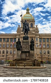PRAGUE, CZECH REPUBLIC - May 2, 2020:  Wenceslas Monument and National Museum in Prague