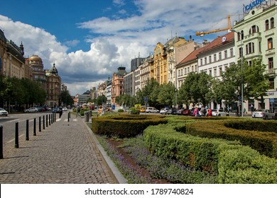 PRAGUE, CZECH REPUBLIC - May 2, 2020: Wenceslas Square, one of the main city squares and the centre of the business and cultural communities in the New Town of Prague, Czech Republic.